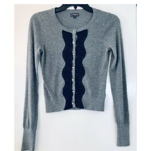 Express Career Sweater Gray w/ Lace Detail, Sz XS